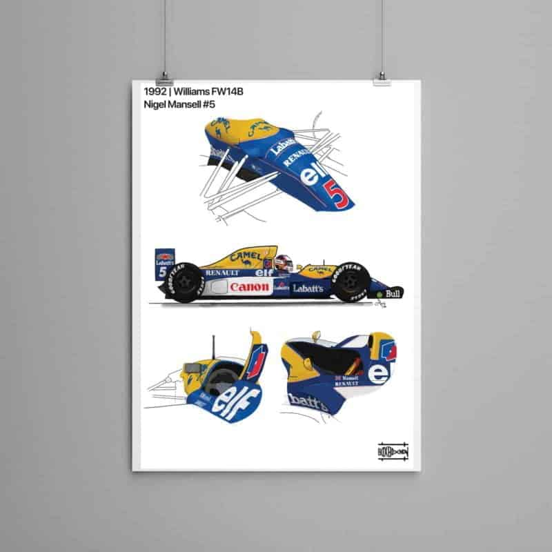 Williams FW14B 1992 Nigel Mansell side view, detailed part, F1 Art Poster, F1 Gift, Formula 1.