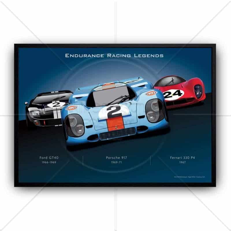 Le mans racing cars Daytime Endurance Racing Porsche, Ferrari and Ford GT40 wall art poster print