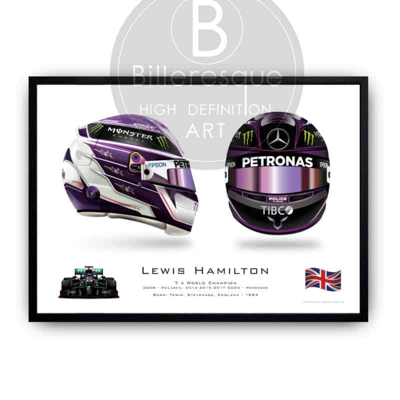 Lewis Hamilton 2020 F1 helmet Front & Side Formula 1 world champion wall art poster print
