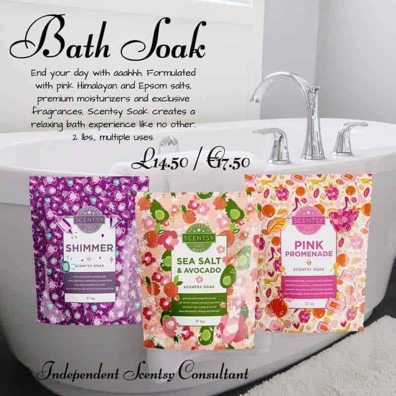 scentsy soaks - now on sale in UK, Ireland, Spain, Nederland, France