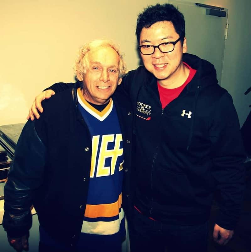 Denis Lemiuex aka. Yvon Barrette with MArtin Hyun - Hockey is Diversity Charlestown Chiefs