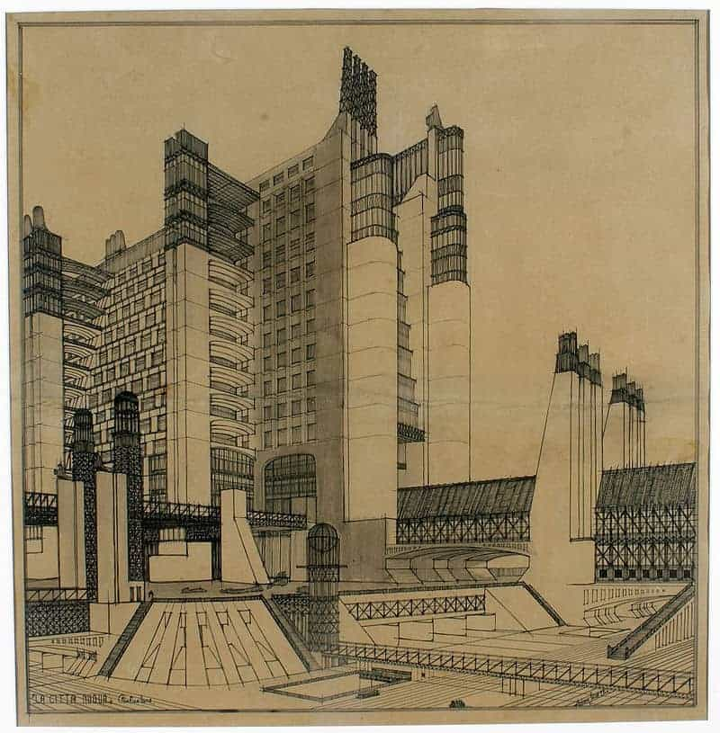 An example of utopian architecture by Antonio Sant'Elia (1914)