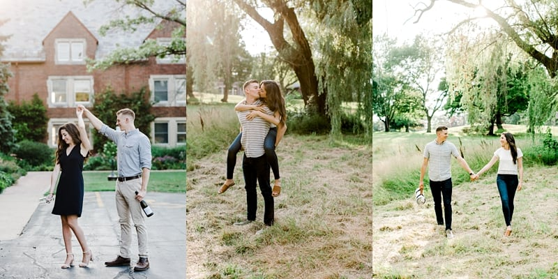 engagement session pictures couple walking, couple dancing, groom is holding bride on his back