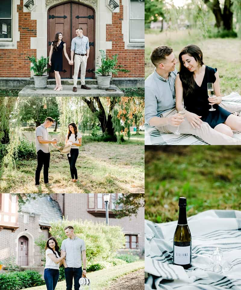 engagement session portraits when couple is drinking champagne standing by the door and looking at each other