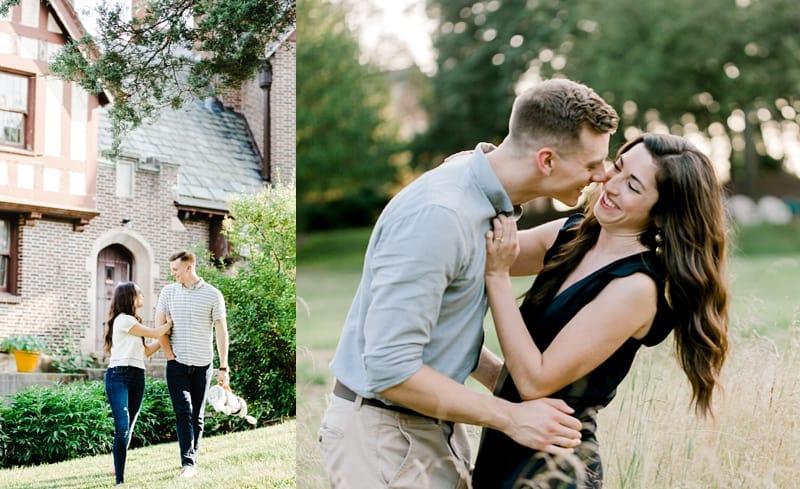 summer engagement session couple kissing, couple walking