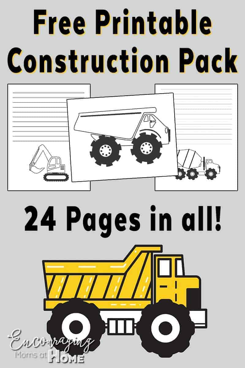 Does your little boy, or girl, love big trucks? Take a look at our FREE printable pack with a Construction theme. These FREE sheets are great for writing, notebooking, and coloring.