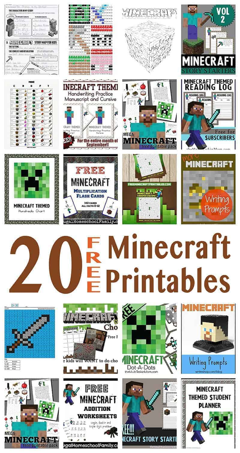 Looking for great resources to learn using Minecraft? Here's a list of very cool printables for learning that your Minecraft fans will love!