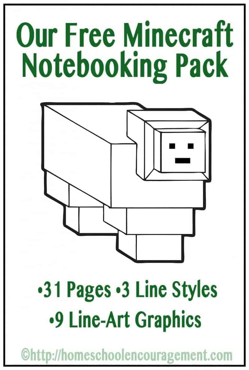 Do your kids love minecraft?  Our FREE Minecraft Notebooking Pages Printable Pack help you incorporate minecraft into your homeschool and make learning fun!