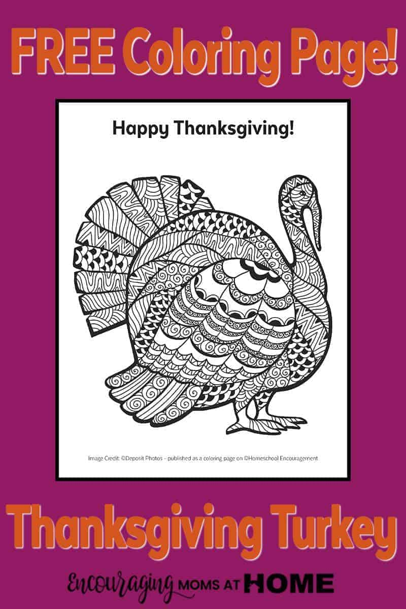 Free Printable Turkey Coloring Page for kids or adults