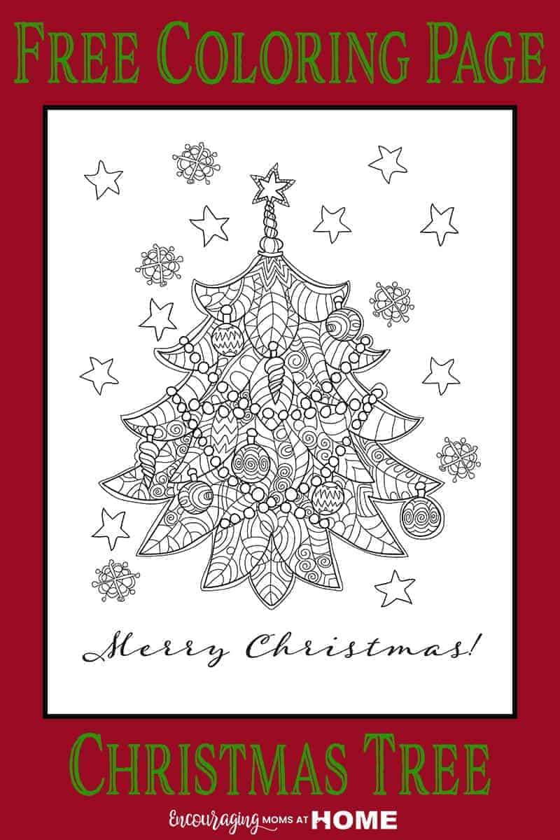 Beautiful Free Christmas Tree Coloring Page - unique and gorgeous!