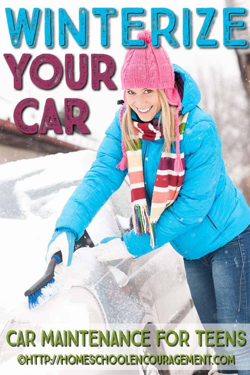 Vehicle maintenance is a necessary life skill for our teens to learn. If you live where cold weather is likely, certain things must be done to make sure your car is safeto drive in the cold on snow, ice, and in winter emergencies. Take a look at this post to learn winter safety tips, steps to winterize your car (with a FREE printable), and we include tips on how to create a winter emergency car safety kit.