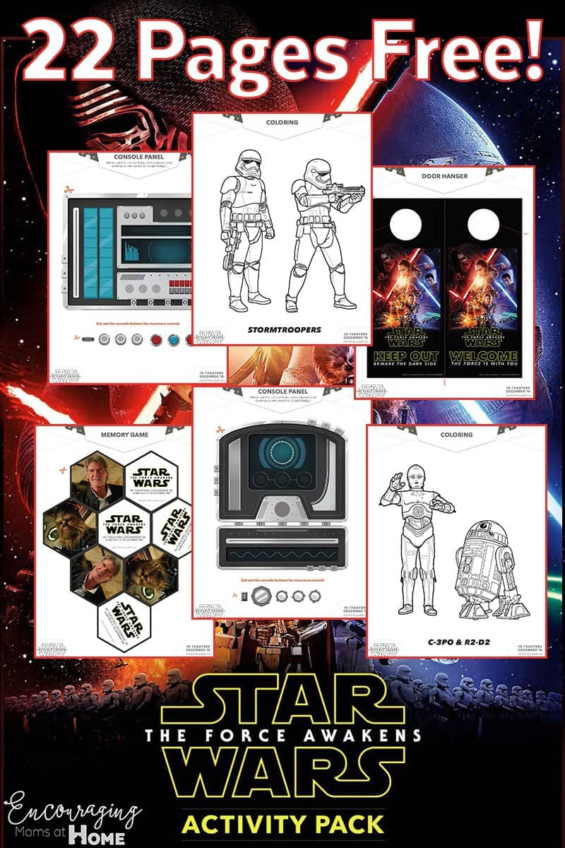 Do you have Star Wars fan in your house?  This activity pack will be fun for them to complete.  It's FREE and includes coloring pages, games, and more. #starwars