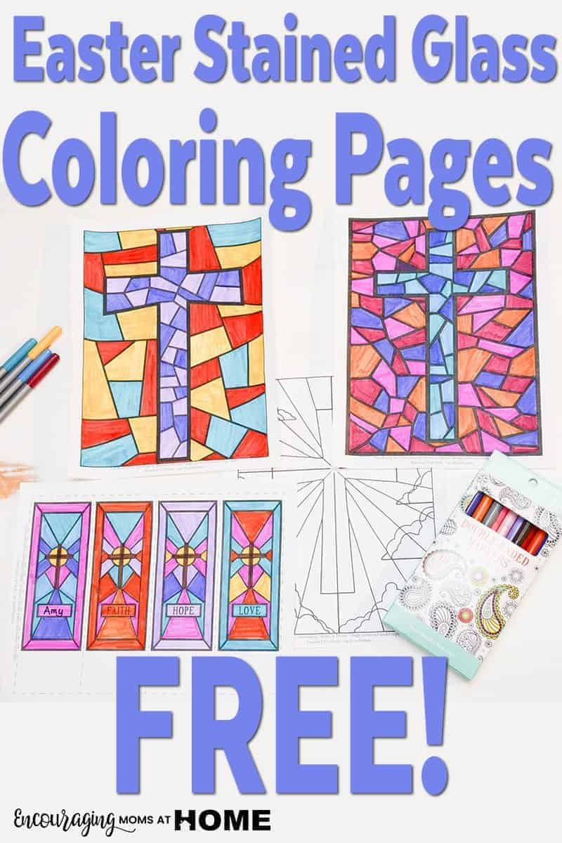 Stained Glass Easter Coloring Pages - Christian, Cross Coloring Sheets
