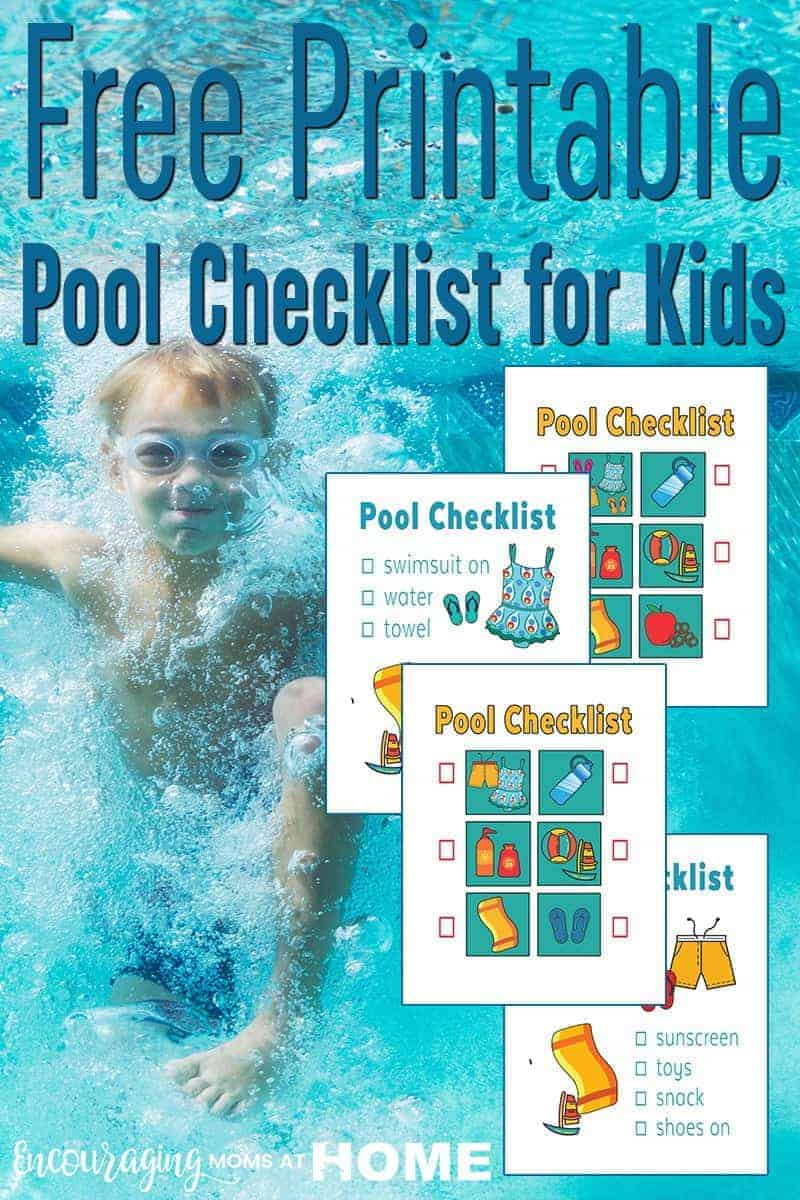 Getting out the door to the pool can be stressful.  Here is a FREE printable pool checklist for getting the kids on their way to the pool.