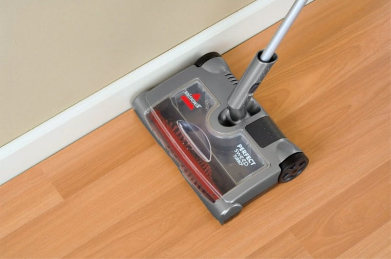 Bissell Perfect Sweep Turbo Review - Cleaning hard floor along baseboard