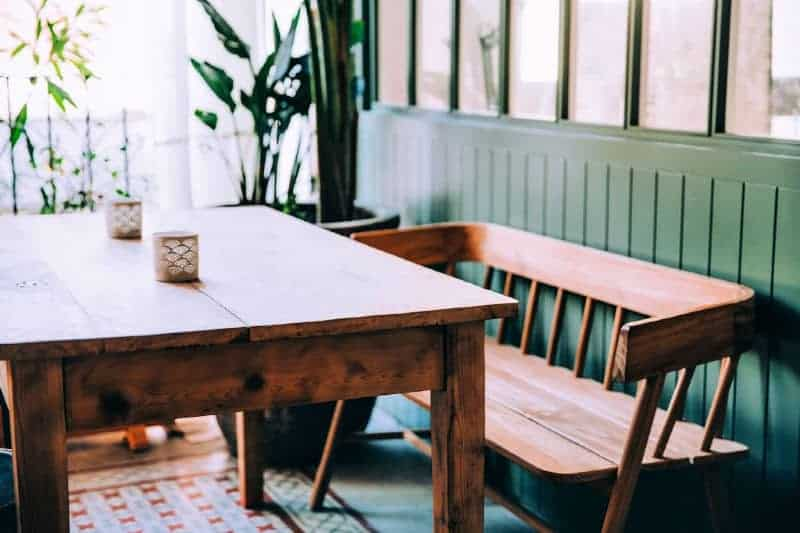 Wood dining table and bench