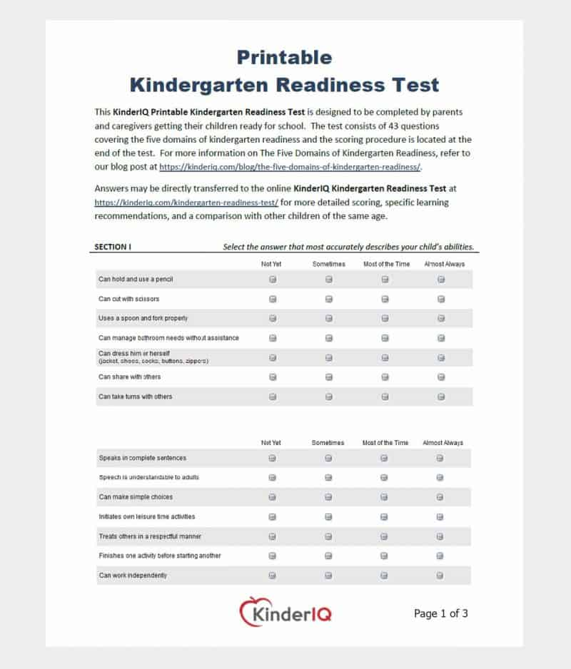 Printable Kindergarten Readiness Test page 1 of 3
