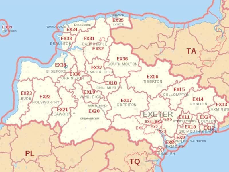 ex postcodes on a map