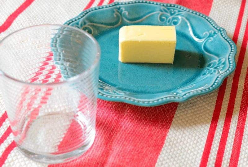 How to soften butter quickly - empty glass and plate
