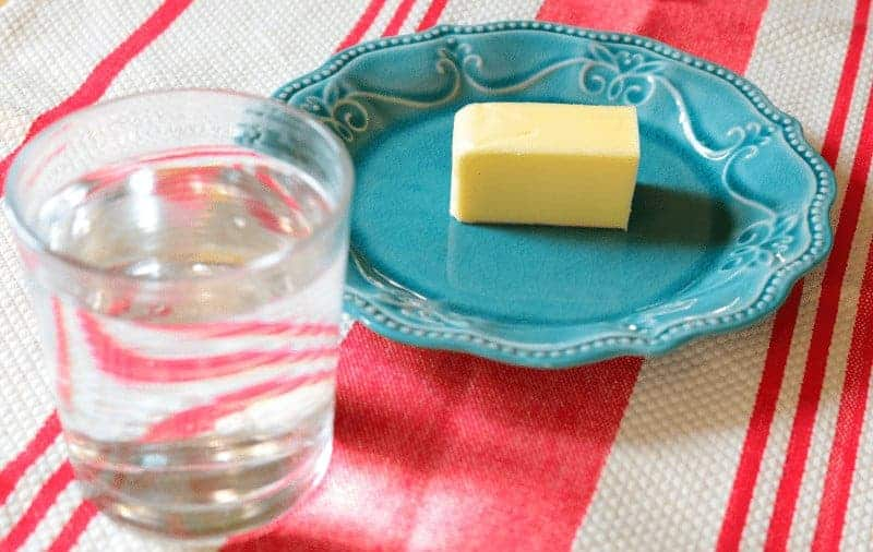 How to soften butter quickly - glass of hot water.