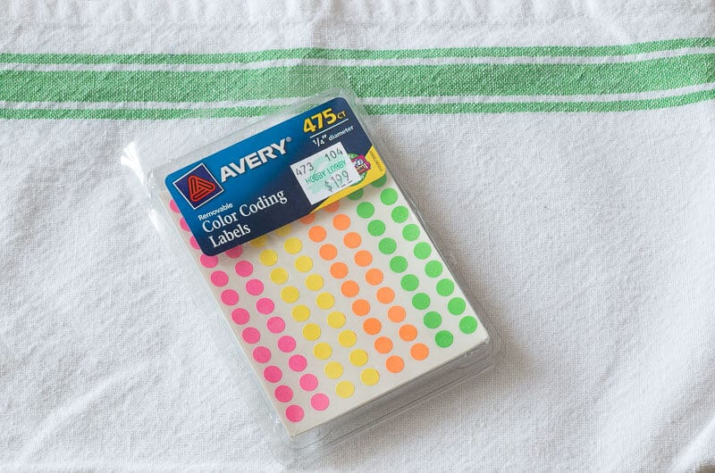 Package of small sticker dots used for organizing