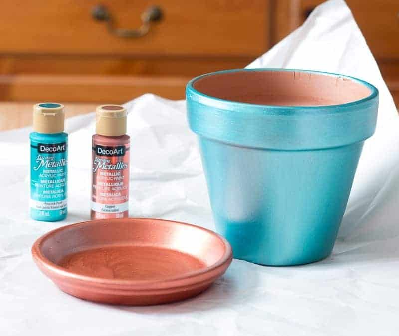 Copper Metallic painted clay pot saucer and peacock pearl blue metallic paint on clay pot
