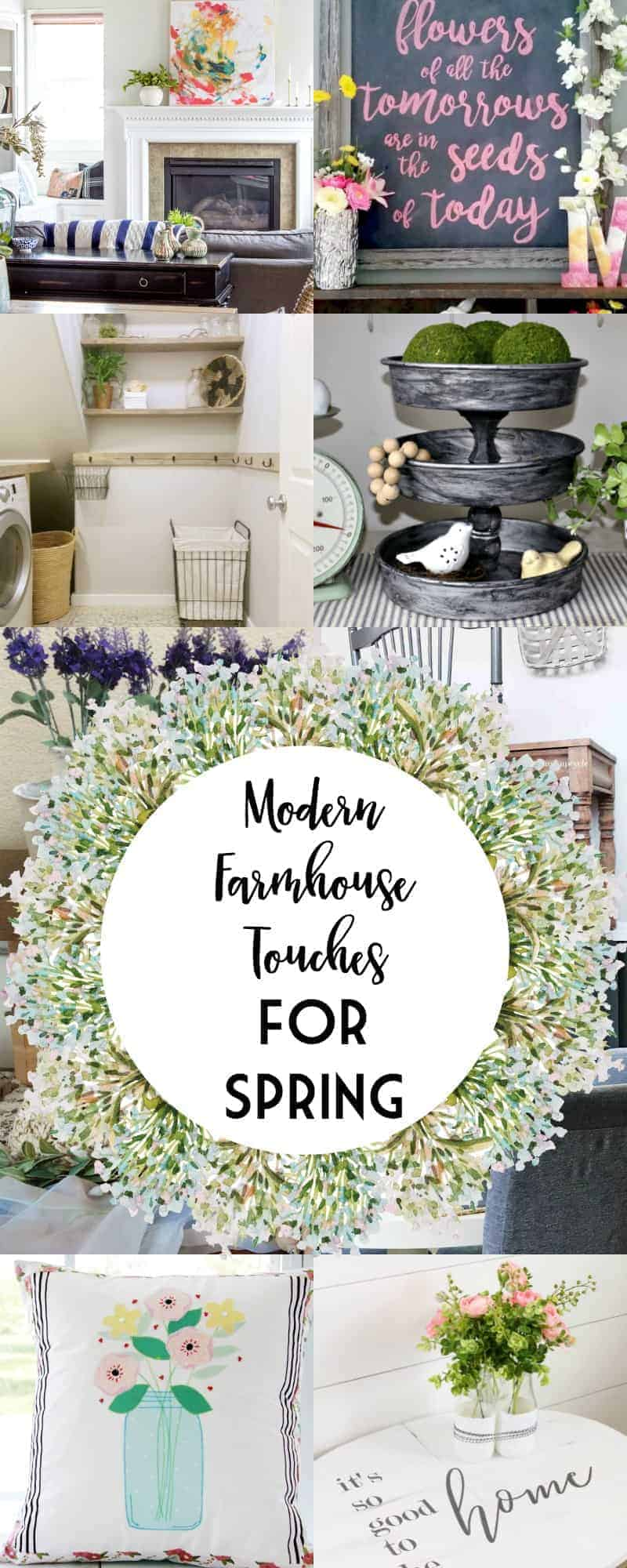 Long collage of 12 modern farmhouse touches for spring with overlay for Pinterest