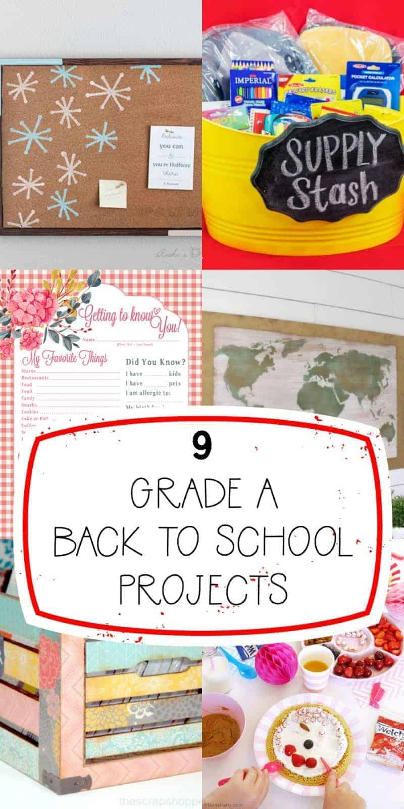 oblong collage of 9 back to school projects