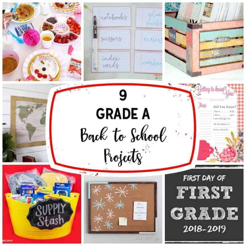 square block of 9 back to school projects with text overlay