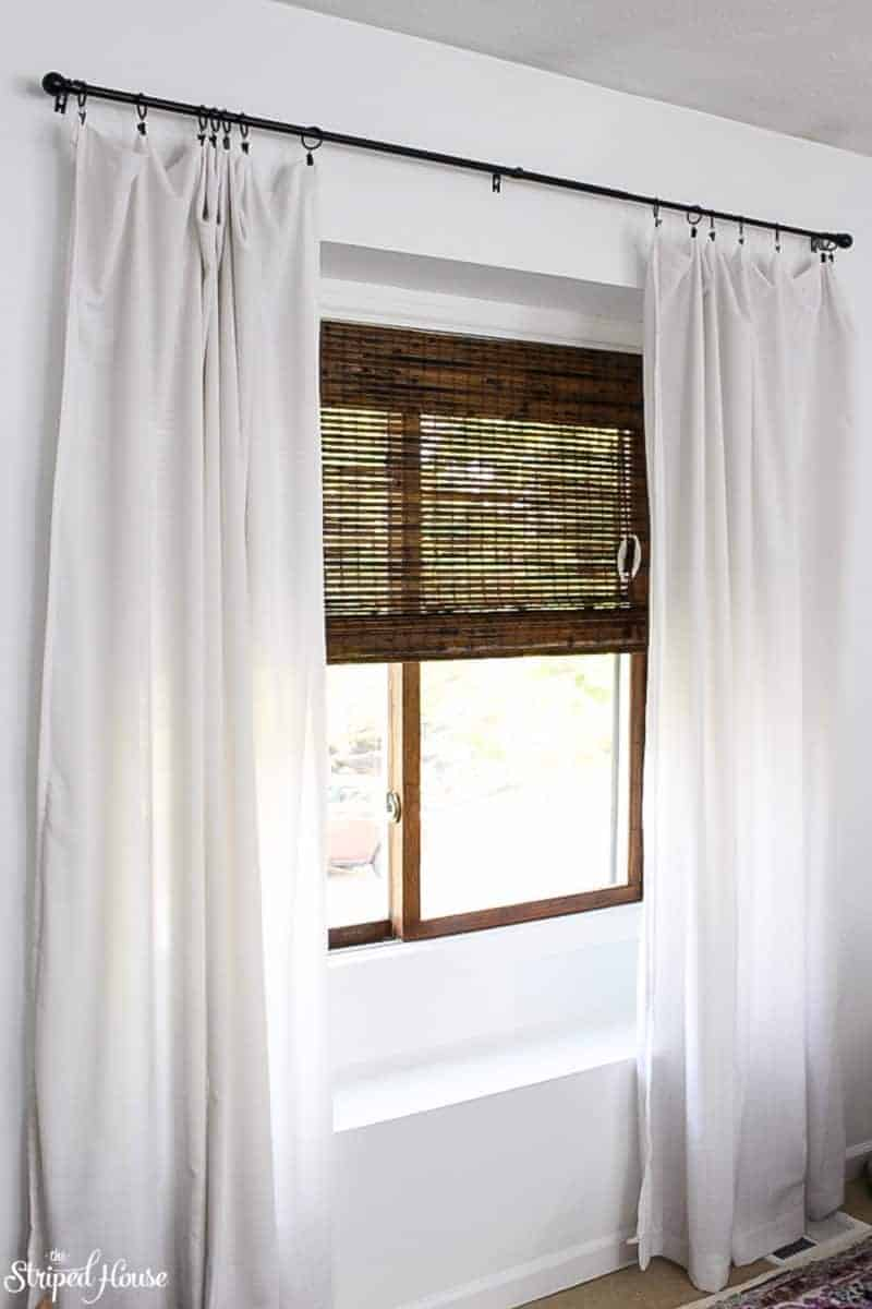 living room window makeover using paint, stain, and dark bamboo blinds | One Room Challenge