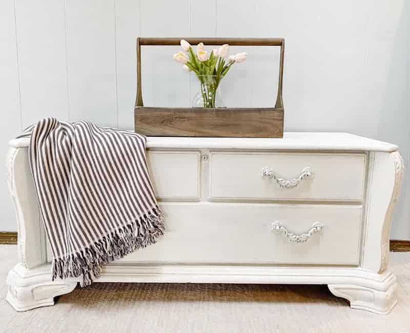 white chalk painted chest with blanket