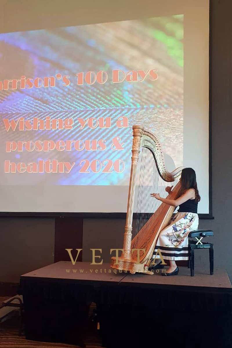 VETTA's Harpist performed for baby 100 days celebration at Singapore Island Country Club