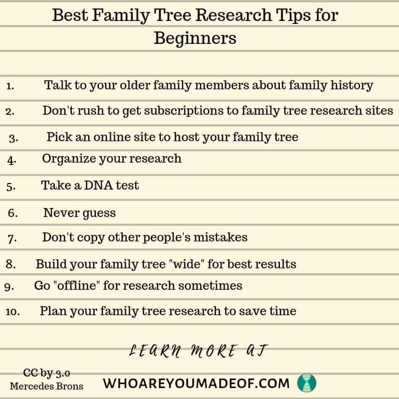 a list of the best family tree research tips for beginners