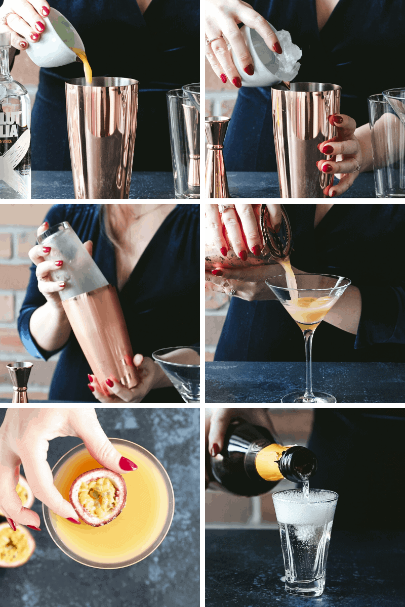 Step by step images depicting how to make a Pornstar Martini Cocktail.