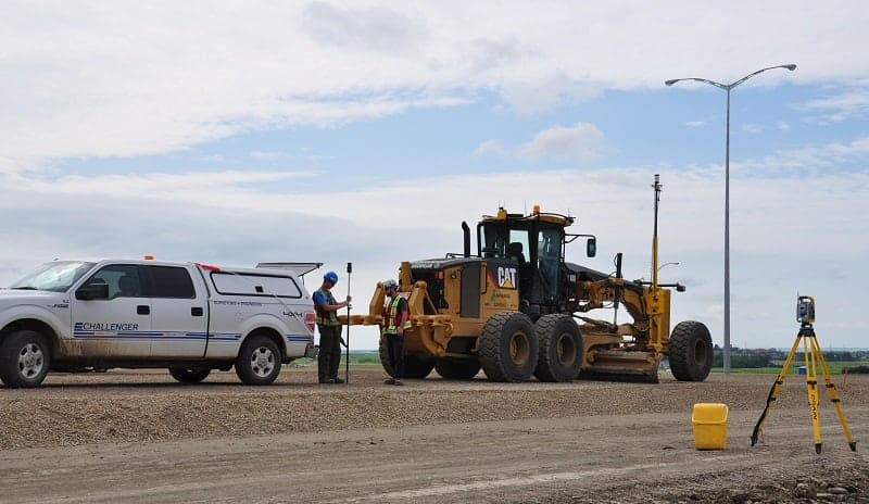 machine control setup on grader for stoney trail project calgary