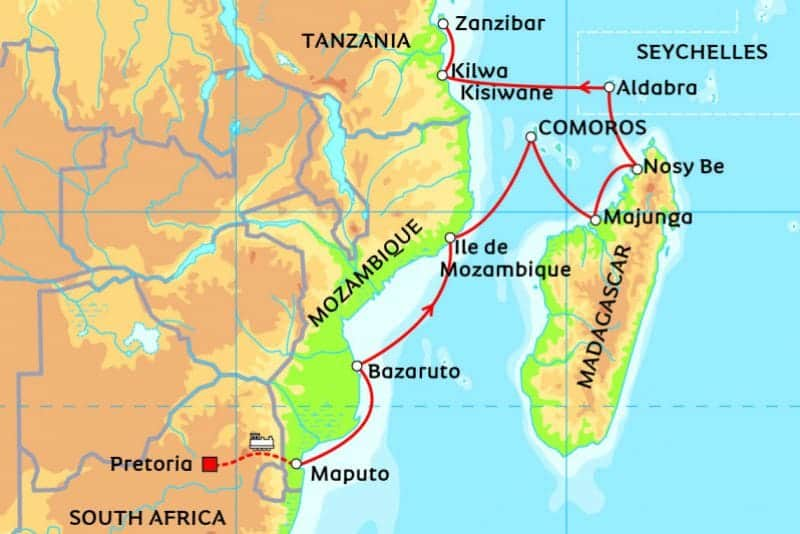 Africa Cruise 2017 from South frica (Pretoria) to Zanzibar