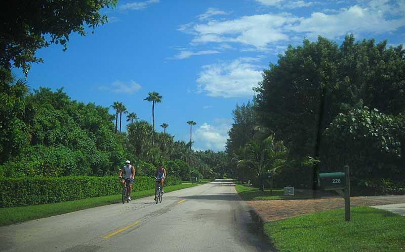 Jupiter Island two lane road makes a good bike route.