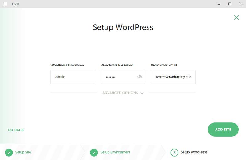 Configurando tu primer sitio con Local: configuración de cuenta de WordPress