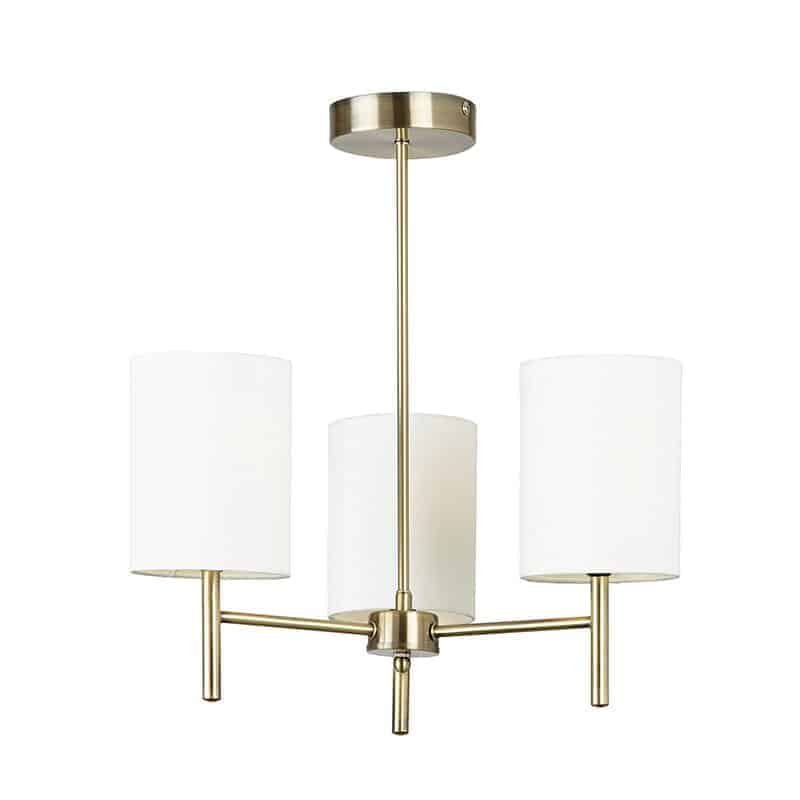Endon BRIO-3AB Brio 3 Light Antique Brass Ceiling Light with White Shades
