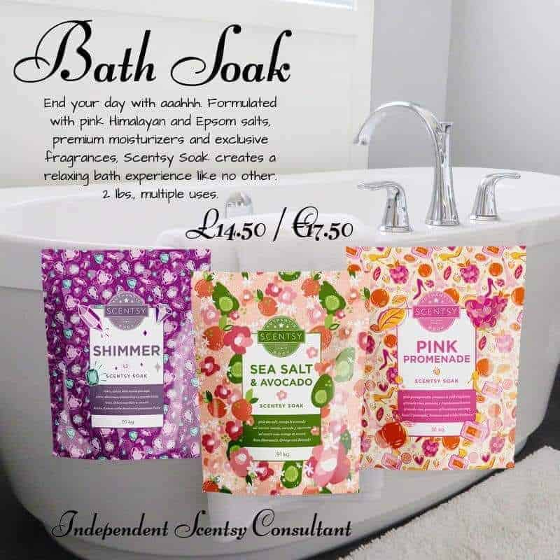 scentsy soaks - now on sale in UK, Ireland, Spain, Nederland, France