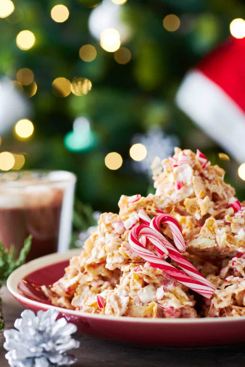 This easy no-bake crispy Peppermint Bark comes together from buttery marshmallows, white chocolate, and crushed candy canes. It's an irresistible combo of textures and tastes that's like a mouthful of Christmas in every bite.