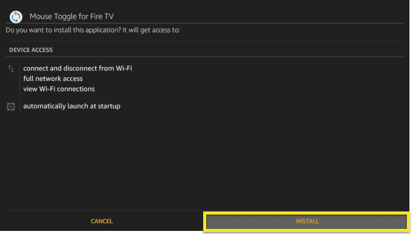 Mouse Toggle screen with Install button highlighted.