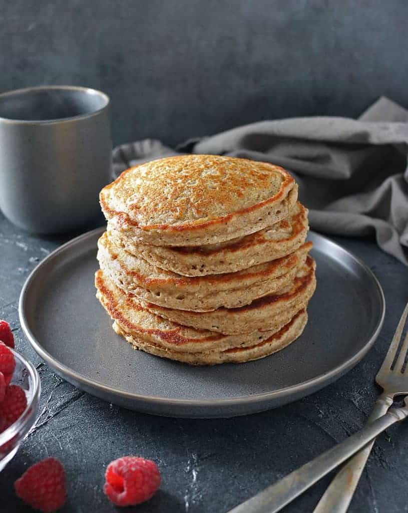 Oatmeal Pancakes with Only Oats, eggs, milk, baking powder, cinnamon and nutmeg and salt