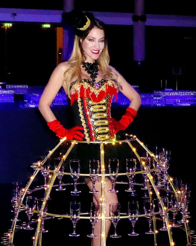 robe à champagne, thème cirque