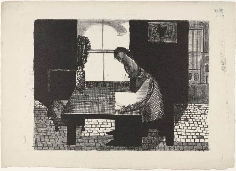 Man Reading, 1940-1944 (lithograph) by Louise Bourgeois.