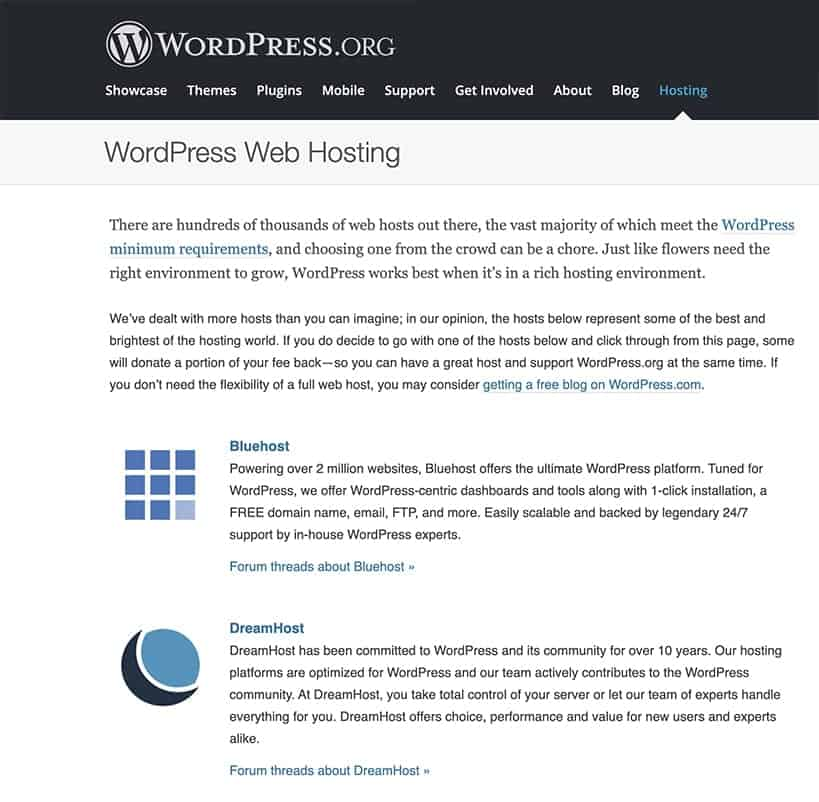 WordPress.org dreamHost recommendation as best hosting