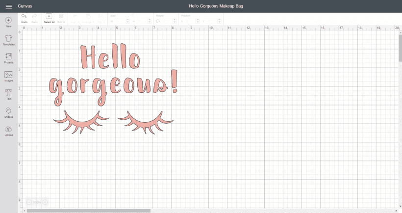 Screenshot of Hello gorgeous in Cricut Design Space