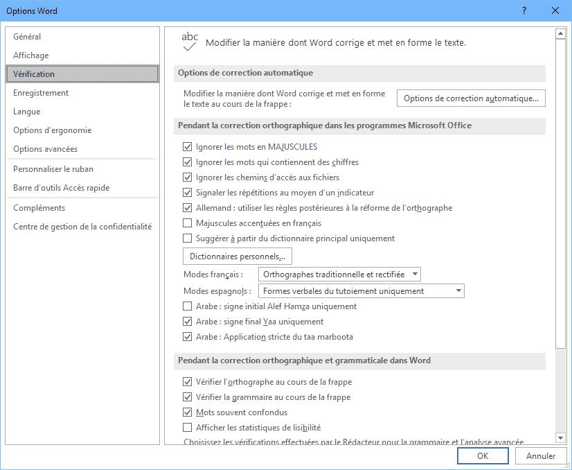 Options verification Word
