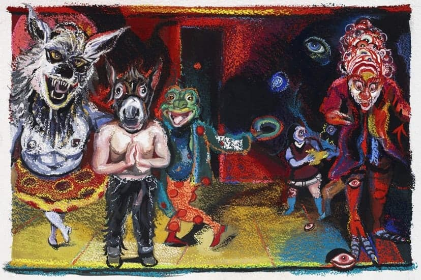 Natalie Frank, Endpaper Villains, Gouache and chalk pastel on Arches paper.