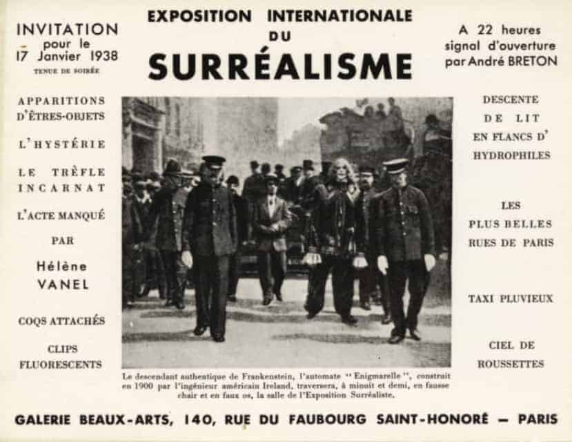 Invitation card for the International Surrealist Exhibition of 1938